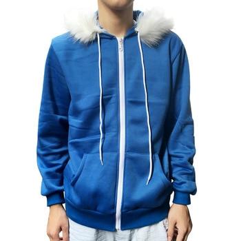 2pcs/set Undertale Sans Cosplay Hoodies Latex Mask Cool Skeleton Cos Blue Coat Halloween Cosplay Costume Unisex Jacket Headgear 1