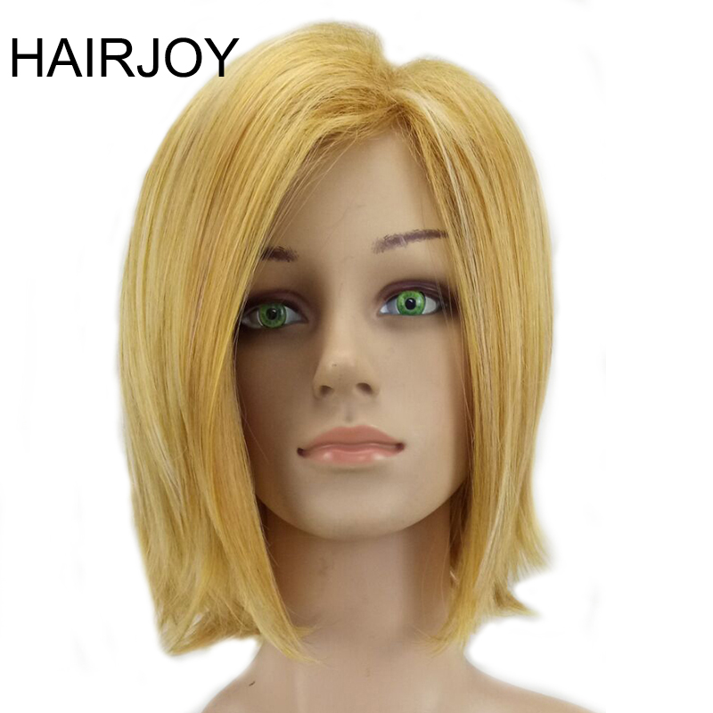 HAIRJOY Women Synthetic Middle Part Bobo Wig Golden Blonde Highlight Short Straight Hair Free Shipping
