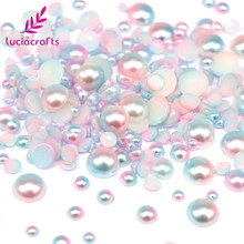 Lucia crafts 3/4/5/6/8mm Half Round Imitation Pearls Flatback Scrapbook Beads DIY For Garment/Phone Case/Nail Making F0316(China)