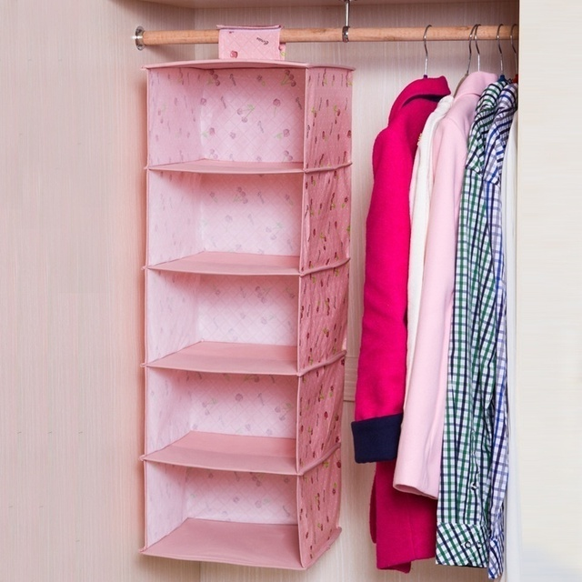 New Hot Sale Simple Cloth 5 Shelf Hanging Closet Organizer Collection  Hanging Clothes Shelves Cloth Storage