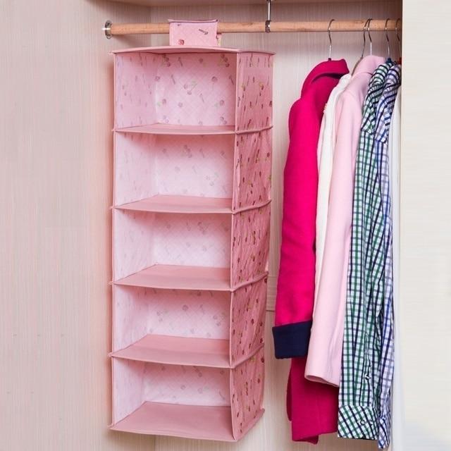 Elegant New Hot Sale Simple Cloth 5 Shelf Hanging Closet Organizer Collection  Hanging Clothes Shelves Cloth Storage