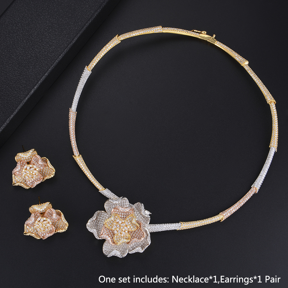 Luxury Wedding Jewelry Set Flower Shape Necklace Earrings Full Micro Cubic Zirconia Sets For Women chic ellipse shape faux gem flower earrings for women