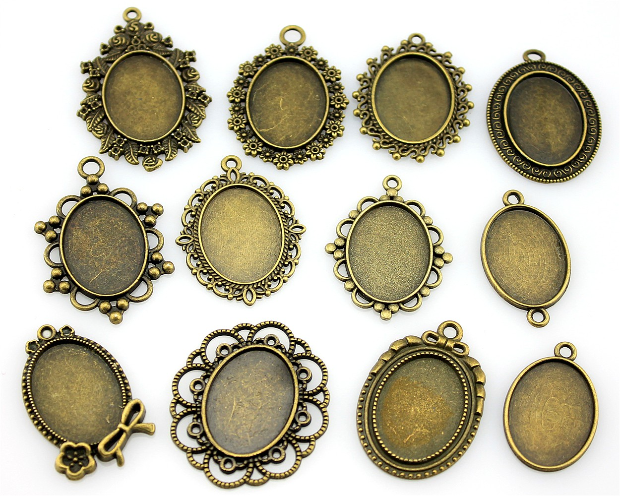 100Gram <font><b>Oval</b></font> <font><b>18x25mm</b></font> Inner Size Mix Designs Antique Silver Color & Antique Bronze Zinc Alloy Cameo <font><b>Cabochon</b></font> Base Setting image