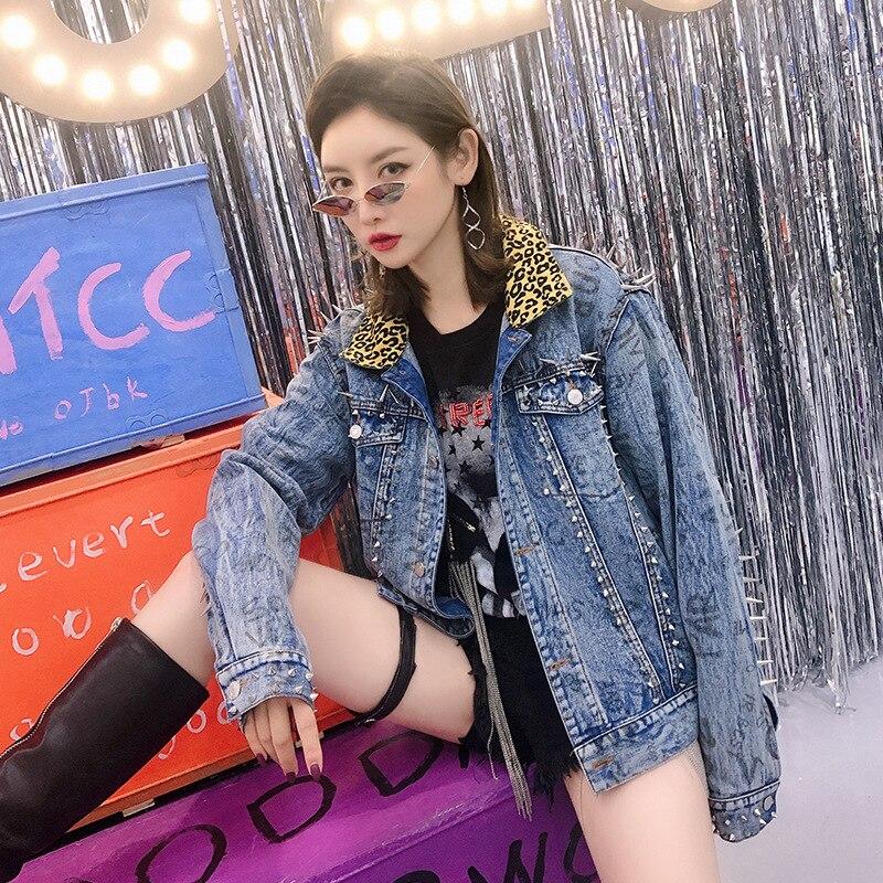 Printemps Jean Léopard Veste Bleu De Marée Revers Marque Nouvelle Punk En Graffiti Thaïlande Femelle Lâche Lettre Spike Impression f4Ewx