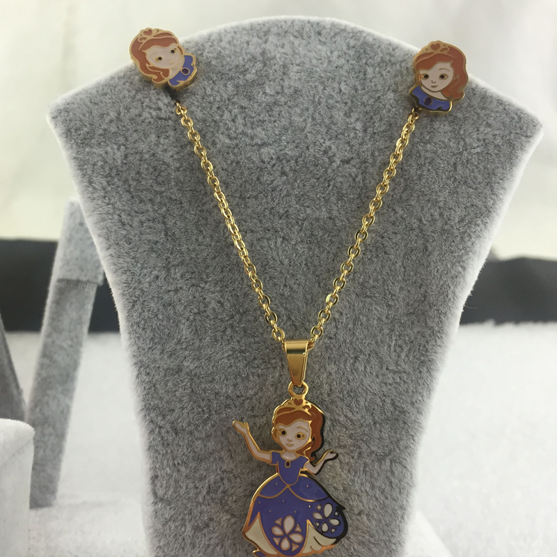 Intelligent Snow White Fashion Jewelry Necklace And Earrings Jewelry Sets For Child And Women And Girls Gift Anniversary To Have A Unique National Style