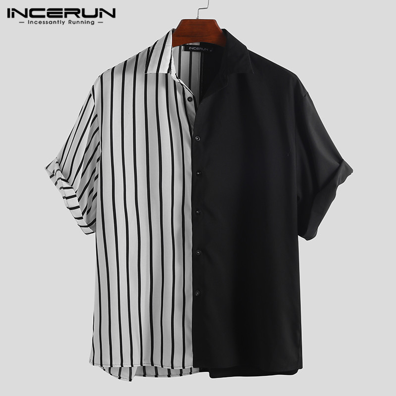 INCERUN 2019 Fashion Striped Patchwork Men Shirt Short Sleeve Loose Button Up Hip-hop Personality Casual Brand Shirts Men Camisa