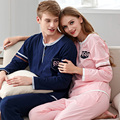 2016 Male Or Female's Lovers Spring And Autumn 100% Cotton Long-sleeve Lounge Sleepwear Set