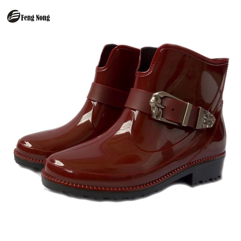 feng Nong new design rain boots waterproof flat with shoes woman rain woman water rubber ankle boots buckle strap botas w058
