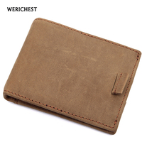 WERICHEST RFID Wallet Crazy Horse Leather Money Clip Wallet Men Top Quality Mini Wallets Brown Carteira Masculina 2017