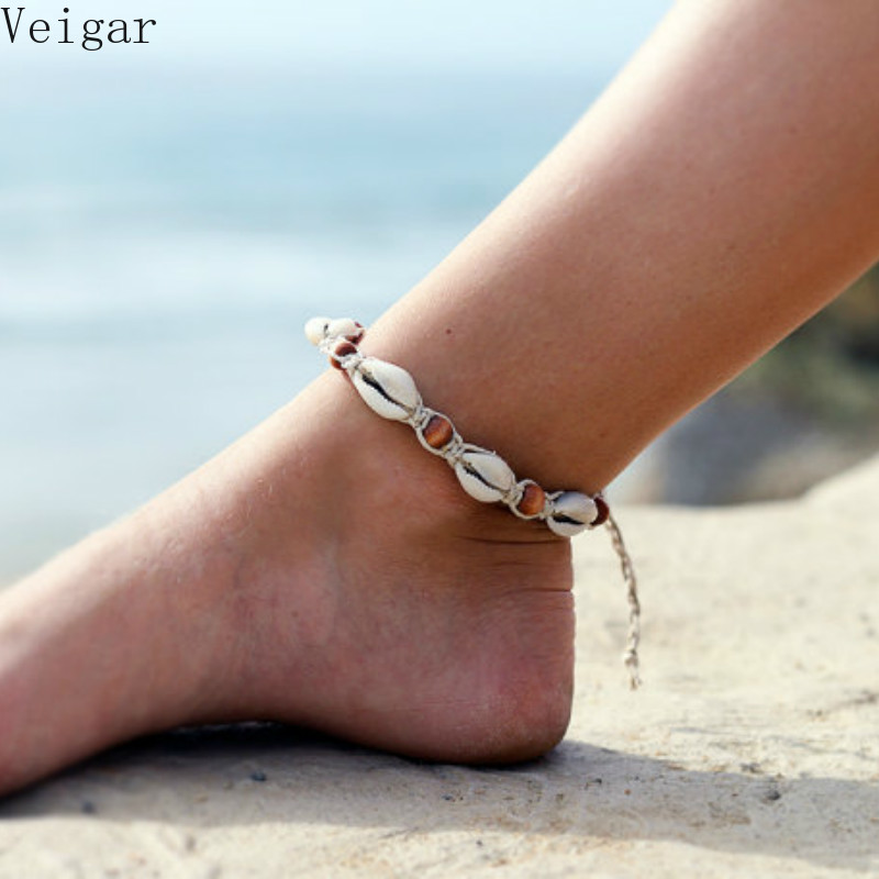 2018 Shell Ankle Bracelet Bohemian Anklet Women Foot Jewelry Summer Beach Holiday Accessories Vintage Rope Wood Bead Anklets
