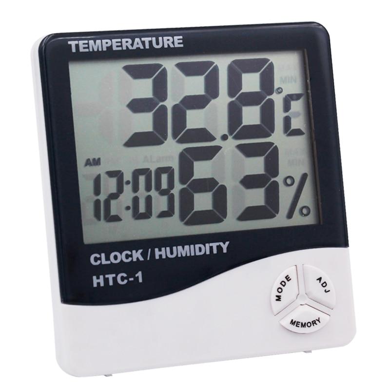 Large LCD Screen Display Hygrometer digital Thermometer Temperature Humidity Meter Alarm Clock Calendar Indoor Outdoor Tester20% zeast thermometer hygrometer digital lcd indoor outdoor 1 5m cable probe temperature humidity meter 50 to 70 c