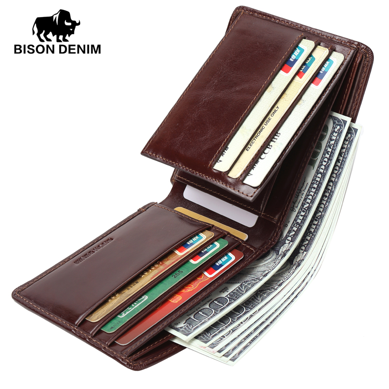 BISON DENIM Famous Brand Retro Vintage Genuine Leather Wallet Male RFID Men Wallets Card Holder Zipper Small Wallet W4361 brand vintage retro 100