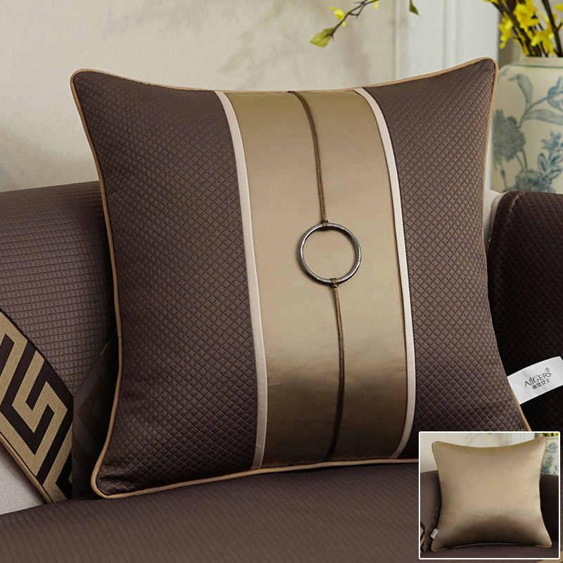 Avigers Luxo Jacquard Costura Geometria Café Flor de Algodão de Linho Capa de Almofada Fronha Casa Decorativo Sofá Jogar Travesseiro