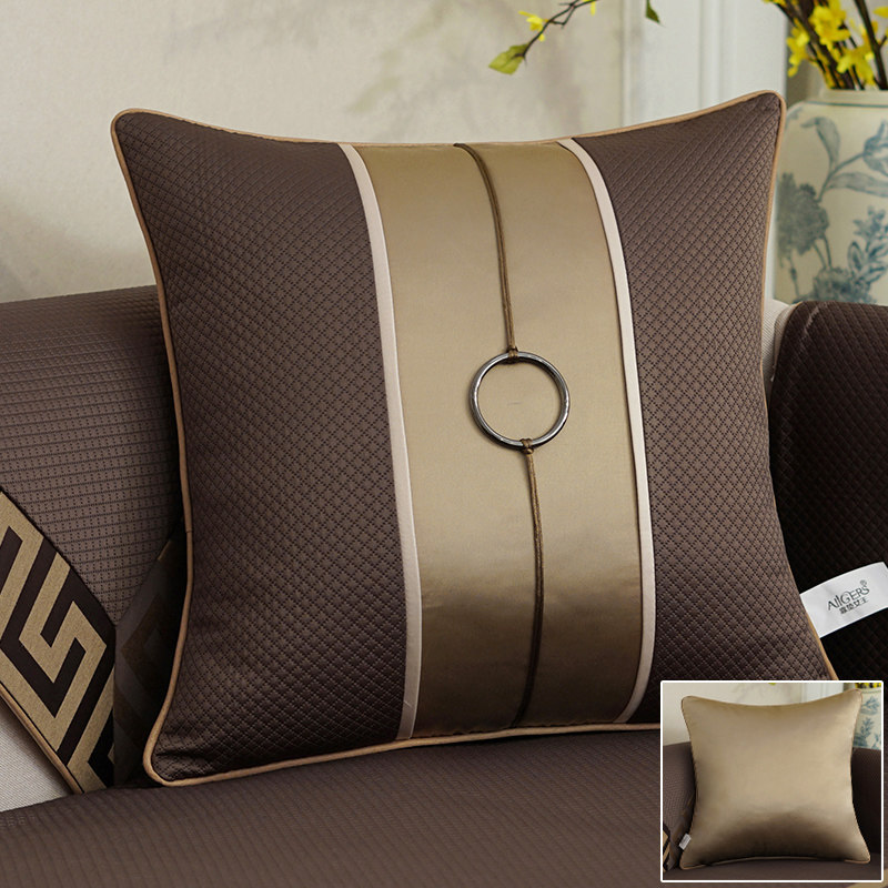 Avigers Luxury Jacquard Stitching Cushion Cover Pillowcase Coffee Geometry Flower Cotton Linen Home Decorative Sofa Throw Pillow