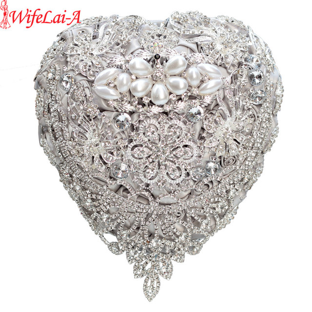 Love Shape Luxurious Crystal Silver Rose Flower Wedding Bouquet Bling Brooch Bride Wedding Flowers Ramos De Novia mariage W520M
