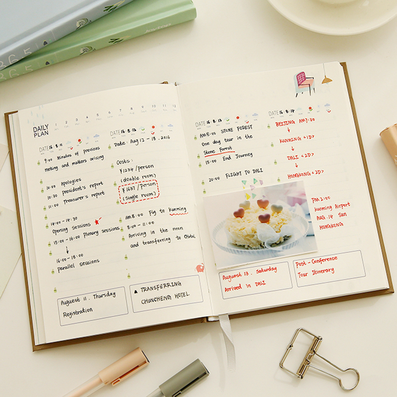 Cute Stationery Notebook 365 Planner Kawaii A5 Weekly Monthly Daily Diary Planner 2020 Notebooks or Journals