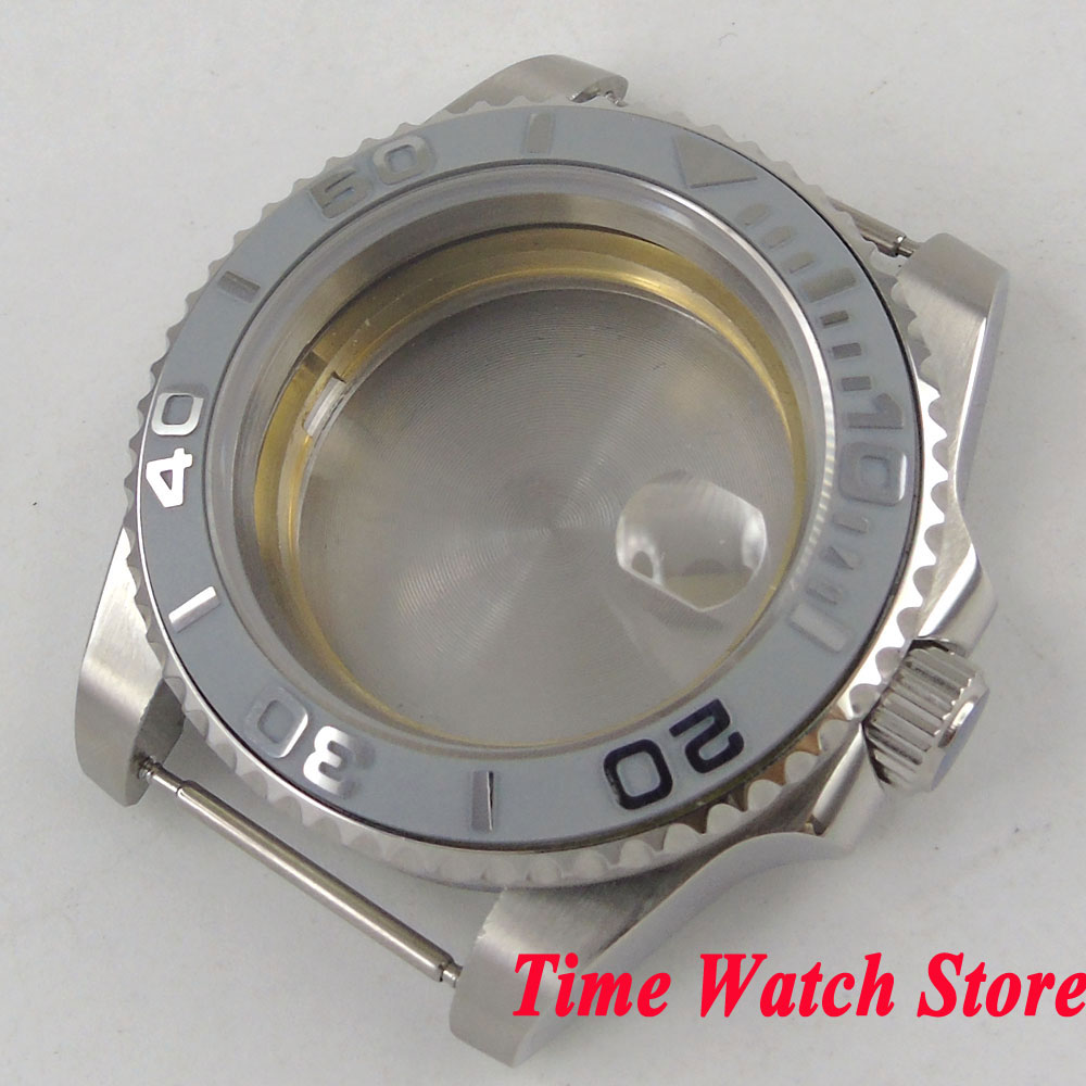 40mm SUB version Sapphire glass grey ceramic bezel 316L stainless steel Watch Case fit Miyota 8215 ETA 2836 movement C29 цена и фото