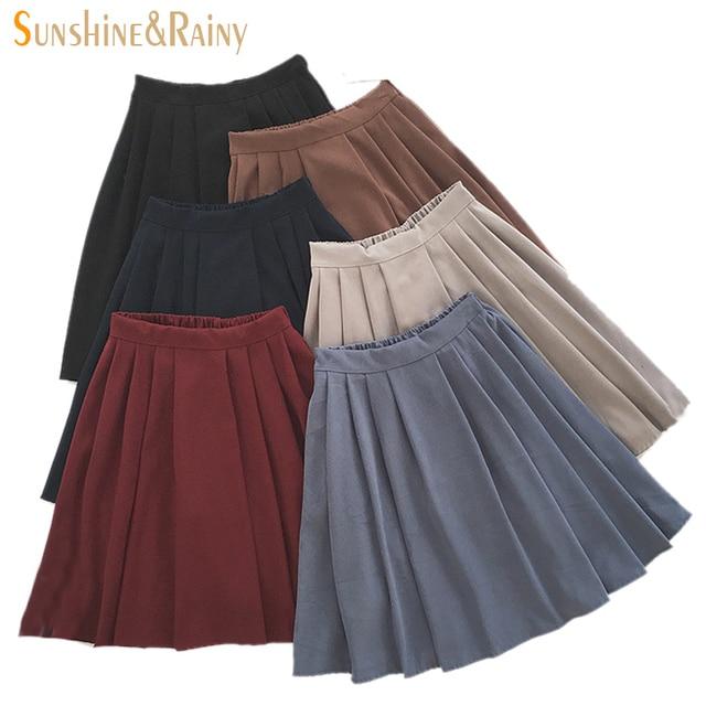 2017 новый бренд девушки юбки плиссированные школьниц юбка униформа cos высокой талией твердые плиссированные юбки женский середина ретро загрузки юбка
