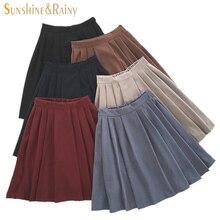 2017 new brand girls skirts pleated schoolgirls skirt uniforms cos high waist solid pleated skirt female mid retro boot skirt