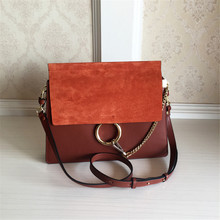 Brand Designer Matte Genuine Leather Woman Bags Metal Ring Chain Crossbody Bags Messenger Bag Day Clutches Handbags