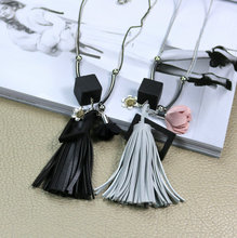 New Cute Tassel Pendant Long Women Sweater Necklace Water-wave Chain Fashion Jewelry Clothes Flower Accessories