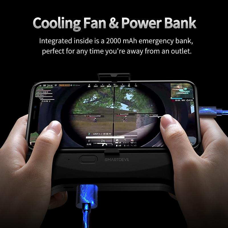SmartDevl Mobile Phone Gaming Game Pad Cooler Cooling Fan Fire Controller Gamepad Universal Joystick with 2000mAh Power Bank