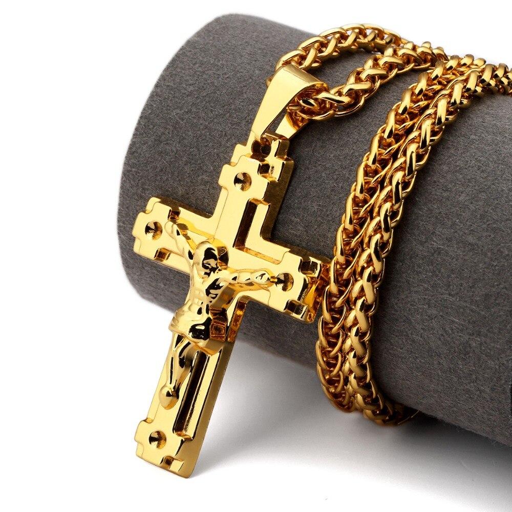 16c64c0110c1d NYUK Ouro Religiosa Jesus Cristo Cruz Colar de Pingente de Moda Para Homens  Hip Hop Cristão Jóias Na Moda Do Presente Do Vintage Das Mulheres Dos Homens