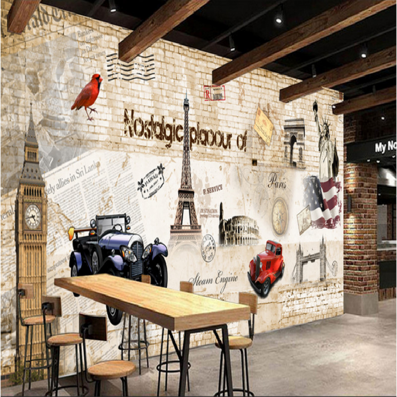 Custom vintage non-woven <font><b>wallpaper</b></font> mural <font><b>3d</b></font> <font><b>car</b></font> wall <font><b>wallpaper</b></font> ktv restaurant bar cafe background wall painting for living room image