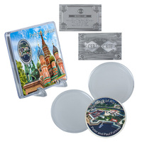 WR Russian Silver Coin Peter and Paul Fortress Challenge Metal Coin with Landscape Case Home Decor for Collection