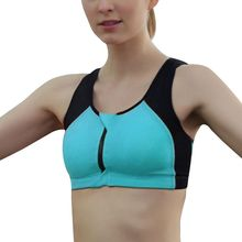 Women Sport Bra for Running Gym Workout Wire Free Front Zipper Seamless Fitness Woman Yoga Bras