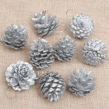 1 lot 18PCS  Silver/Gold Wooden Pine Cones Christmas Ornaments Decorations
