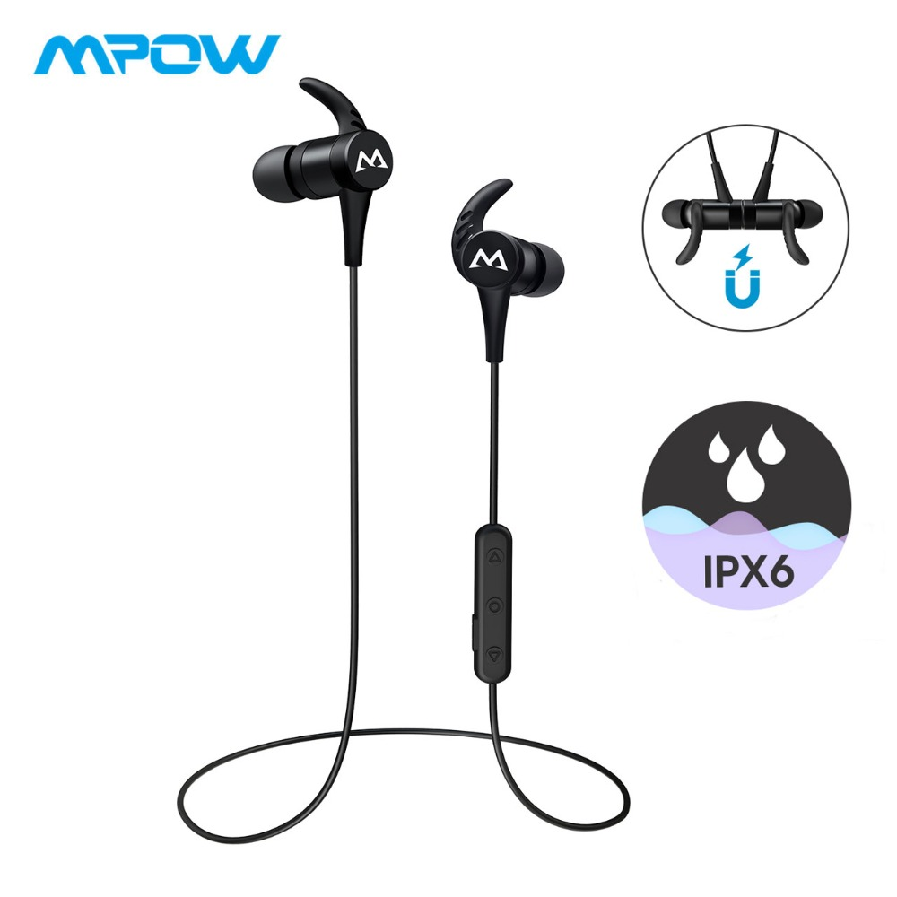 4f867f4f1c0 Mpow S8 Wireless Sport Headphones Bluetooth 4.1 Magnetic Earphones IPX6  Waterproof HD Stereo Sound Earbuds With