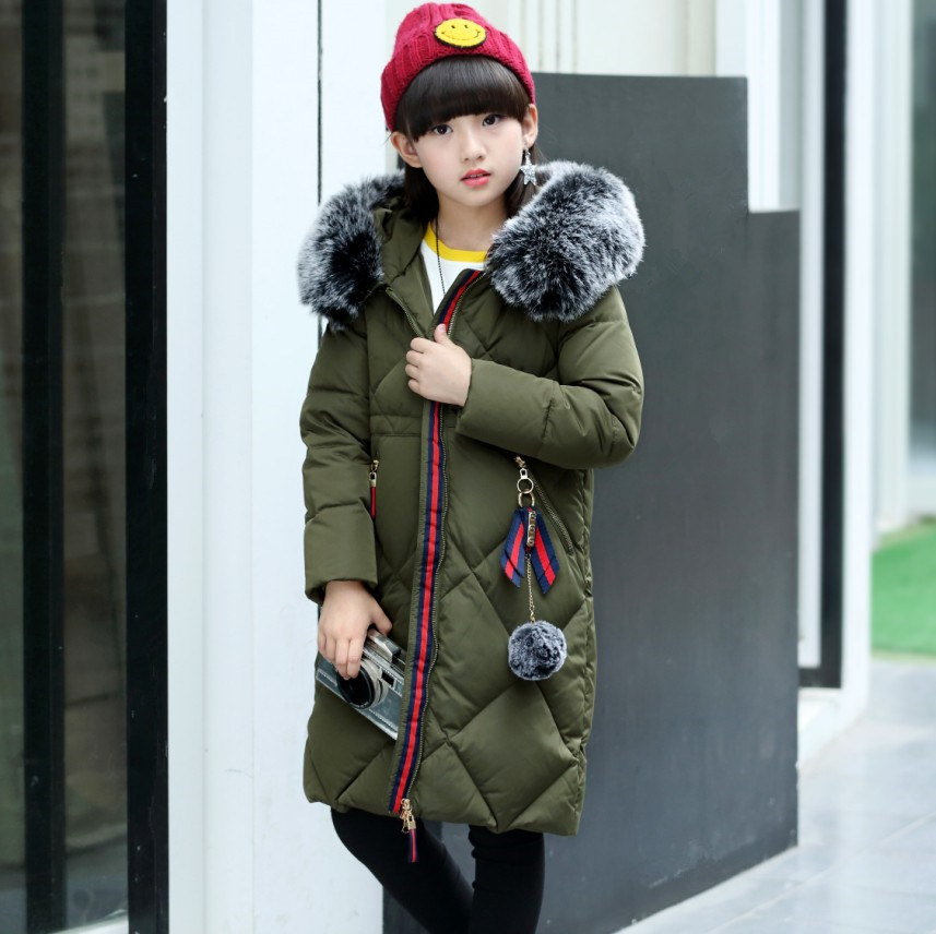 120-160 Down Jacket For Girls Winter Coat 2017 New Fashion Solid Long Topcoat Hooded Big Fur Collar Warm Big Pockets Outwear new women winter down cotton long style jacket fashion solid color hooded fur collar thick plus size casual slim coat okxgnz 910
