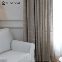 Budloom Japanese style gray brown linen like curtains for bedroom luxury plaid square curtains for living room window panels|Curtains| |  -