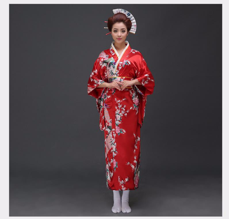 Traditional Women Sexy Satin Kimono Yukata With Obi Performance Dance Dress  Japanese Cosplay Costume Flower One Size 11ad6393faa7
