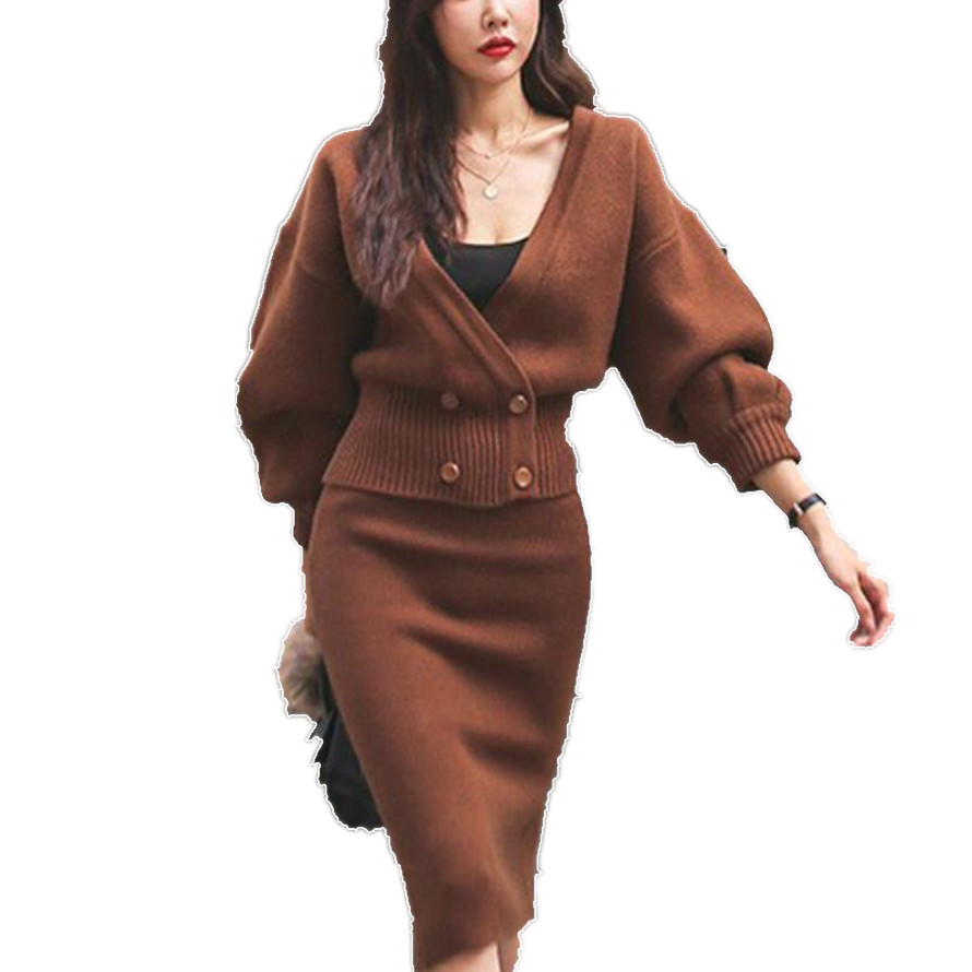 2018 automne hiver bureau dame tricoté 2 pièces ensembles femmes double boutonnage Sexy col en v manteau hauts + hiver deux jupe ensembles