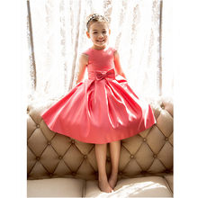 6c5fab6fed LAN TING BRIDE A-Line Tea Length Flower Girl Dress Satin Frist Communion  Short Sleeves Jewel Neck for wedding
