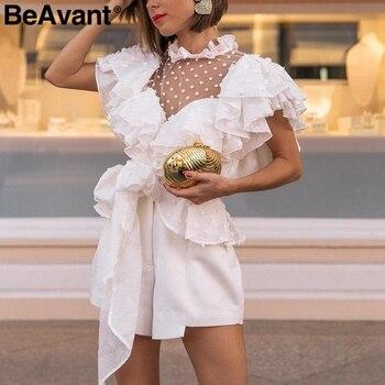 BeAvant Vintage victorian white blouse women Transparent mesh ruffle top summer 2019 Chiffon elegant blouses shirt ladies blusas