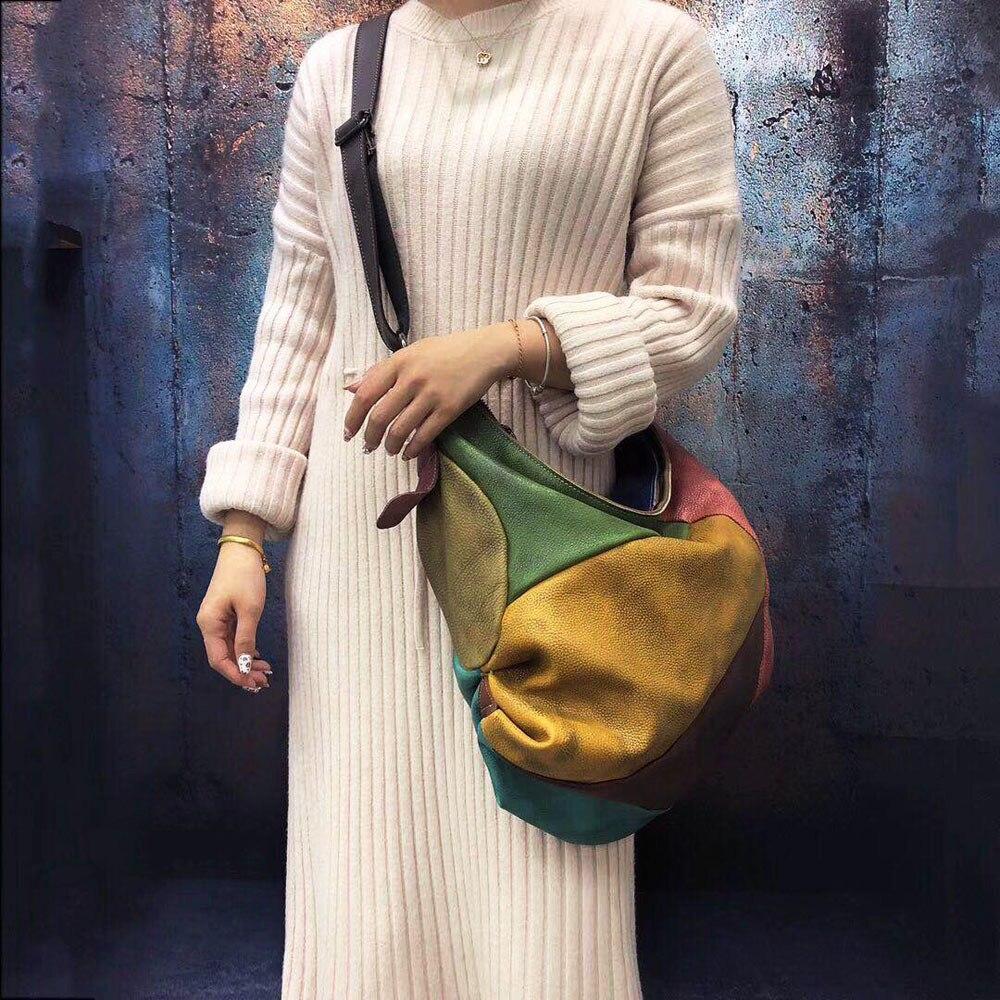 Vintage Genuine Leather Women's Hobos Bag Half Moon Random Patchwork Colorful Big Shoulder Bags 45*38Cm