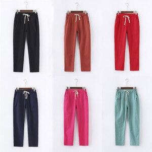 Image 3 - 13 צבעים נשים מכנסיים חדש כותנה פשתן קיץ מכנסיים מכנסיים אלסטיות גבוהה מותניים קוריאני Capris קל הרמון מכנסיים בתוספת גודל