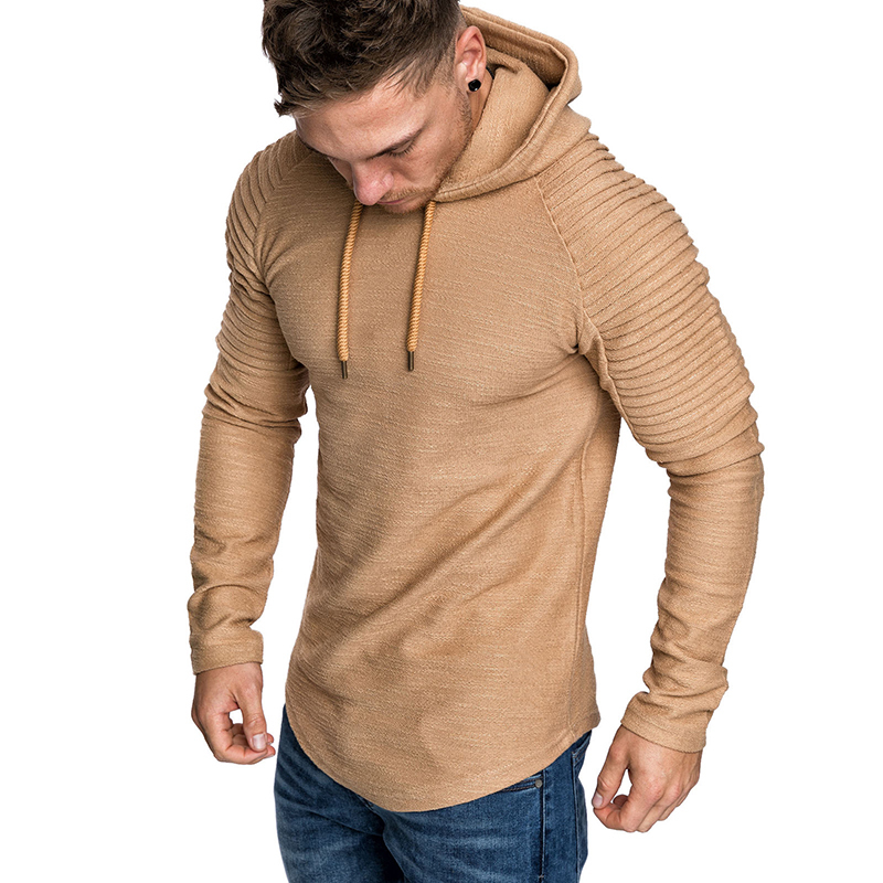 GustOmerD Neue Hoodies Mann Solid Farbe Slim Fit High Street Mit Kapuze Sweatshirt Streifen Falten Sportswear Herren