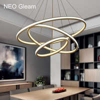 NEO brillo doble brillo moderno Led luces colgantes cocina sala de estar Dinging accesorios aluminio alto brillo lámpara colgante