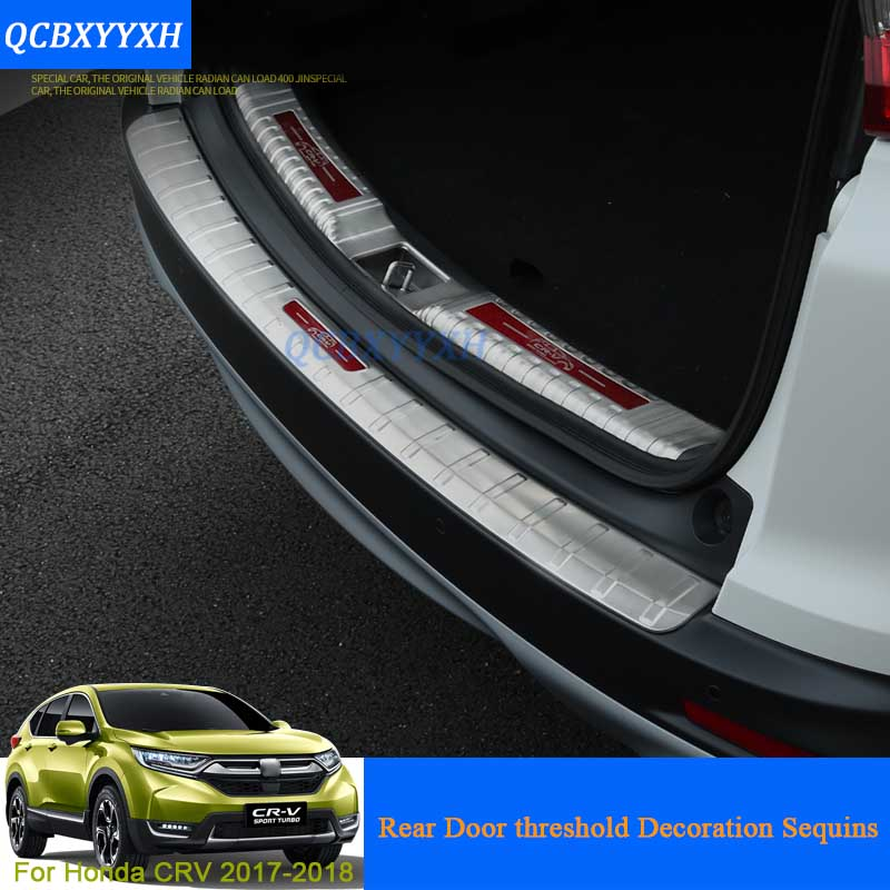 Stainless Steel Trunk Rubber Rear Guard Bumper Protector Trim Cover Rear Bumper Protector Sill Car For Honda CRV CR-V 2017 2018 rogue stainless steel rear bumper protector sill trunk guard cover trim for 2014 2016 nissan x trail x trail t32 car accessories