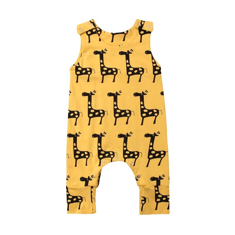 0-24 Mt Nette Neugeborene Baby Mädchen Sleeveless Cartoon Tier Baumwolle Spielanzugoverall Outfits Sommer Kleidung Harmonische Farben