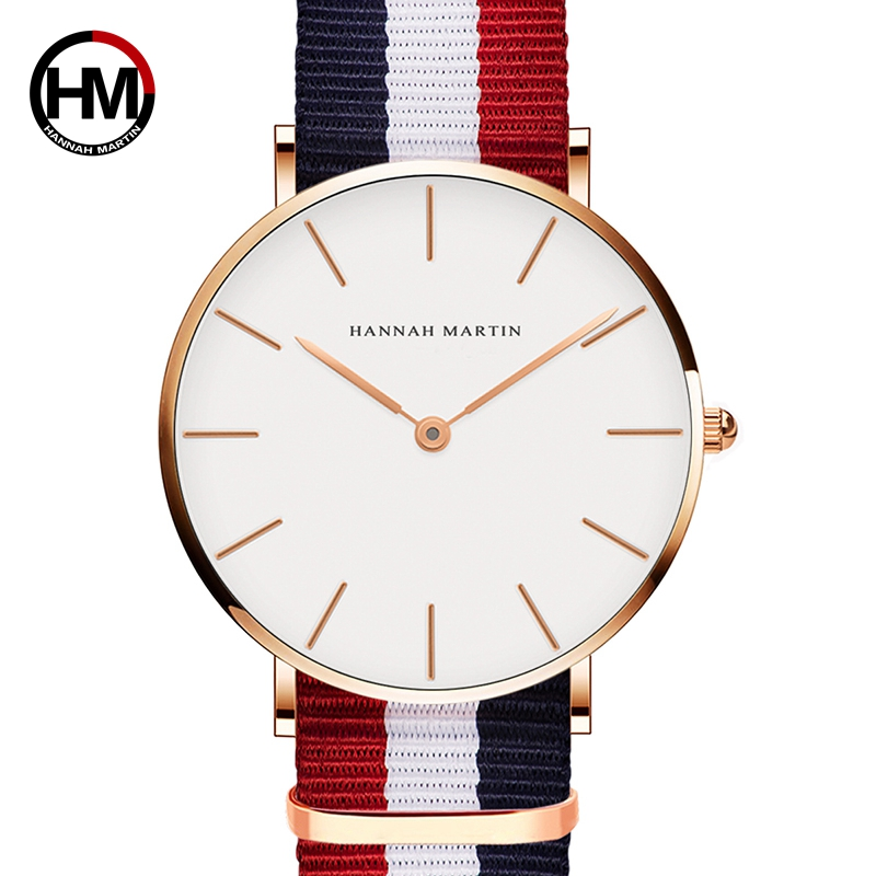 Hannah Martin Lovers' Watches Brand Luxury Men Women Fashion Casual Quartz Watch Simple Nylon Clock Relojes Mujer Montre Femme