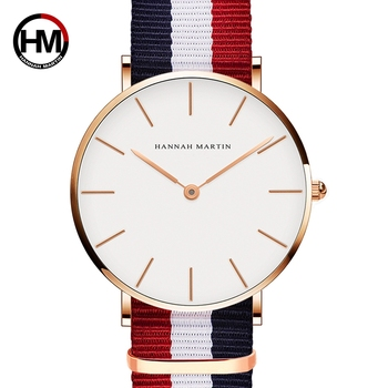 Hannah Martin Lovers' Watches Brand Luxury Men Women Fashion Casual Quartz Watch Simple Nylon Clock Relojes Mujer Montre Femme new longbo luxury brand women watch gold ceramic bracelet lady quartz watch waterproof ladies clock relojes mujer montre femme