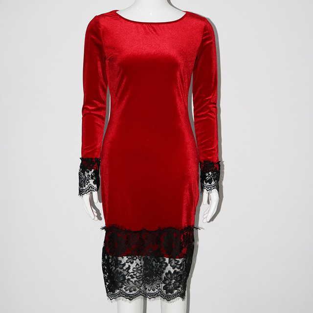 Sexy Long Sleeve Velvet Slim Party Dress With Lace for Shemales & Crossdressers