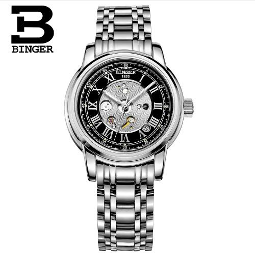 Switzerland Brand Binger Wristwatch Men 2017 Top Brand Luxury Male Famous Stainless Steel Clock Automatic Menchanical Watches mce top brand mens watches automatic men watch luxury stainless steel wristwatches male clock montre with box 335