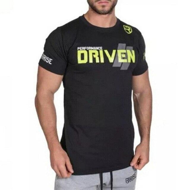 Mens gym formation Marque t shirt Fitness Bodybuilding manches courtes coton  chemises Courir vêtements d  319569b8f38