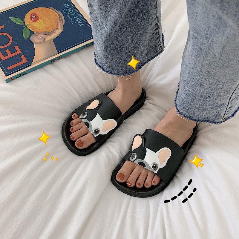 ZILSEN Women Cute Dog Slides Outside Non-slip Indoor